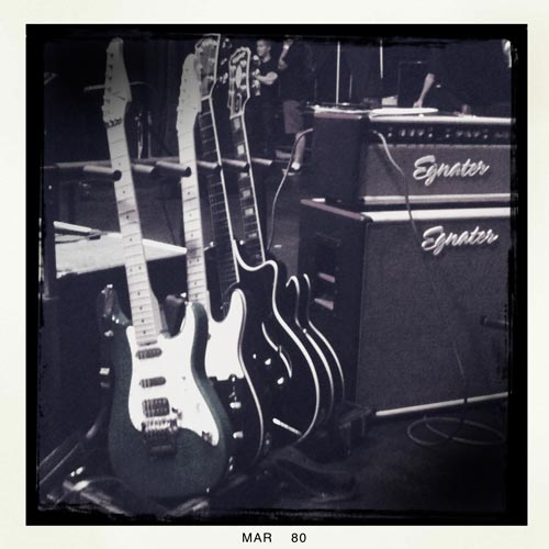 guitars lined up for the show with Egnater MOD50